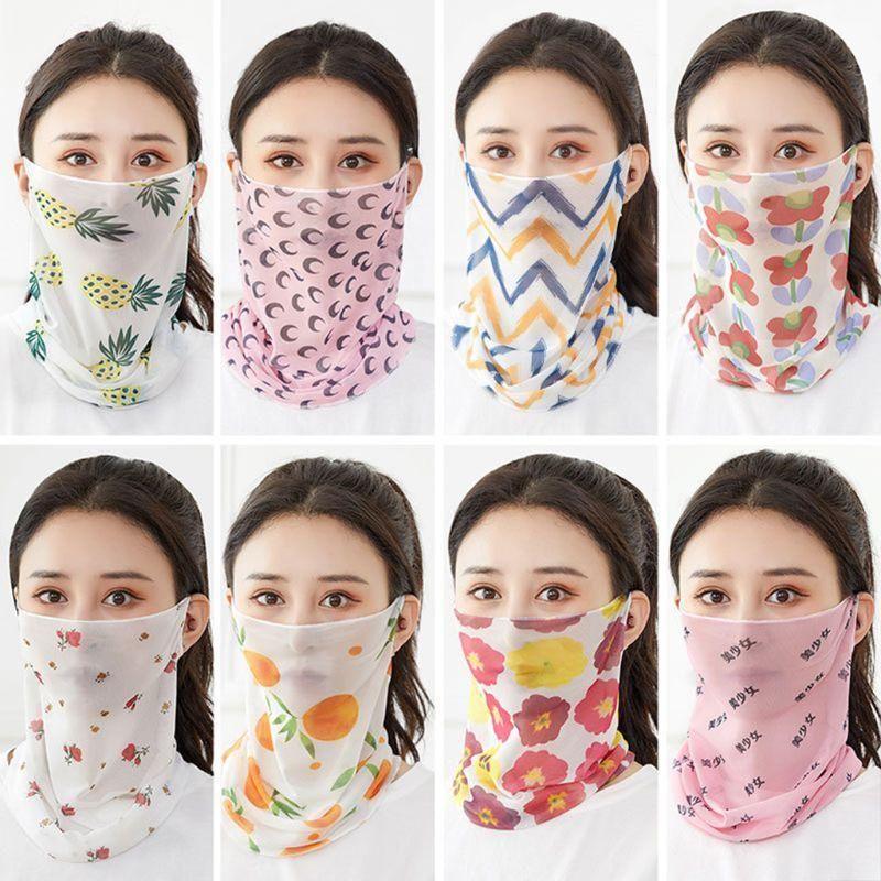 Donne Silk Sunscreen Neck Ghatiter Face Mask Floral Moon Stampa Earliop Bandana Summer UV Protezione da maglia Guida Ghetta