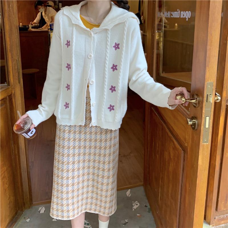 2021 сладкие осени женские блузки новых Kawaii свободный рукав мода лоли девушки вышитый кардиган свитер Mujer dqto