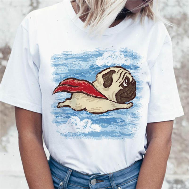 PUG Dog T Shirt T-shirt T-shirt Graphique Top Femme Femme Ulzzang Tees drôles Vêtements coréens Harajuku Tshirt pour