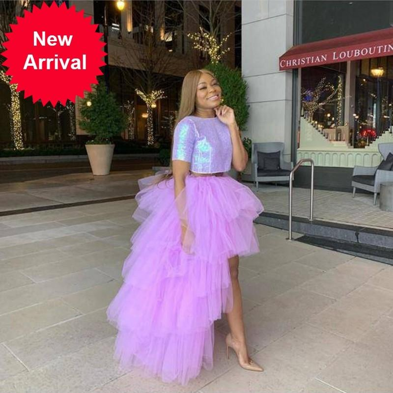 Fashion Lavender 2 Pieces Women Puffy Tutu Long Dresses Sparkle Sequined Top Sexy Vestidos Custom Made Plus Size