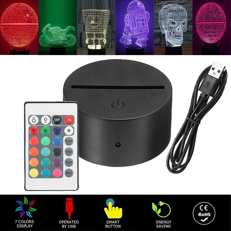 3D Light LED ضوء مصباح قاعدة، LED أضواء LED 3D Light Lights، 7 ألوان تغيير لغرفة النوم غرفة الطفل المعيشة مكتب مقهى