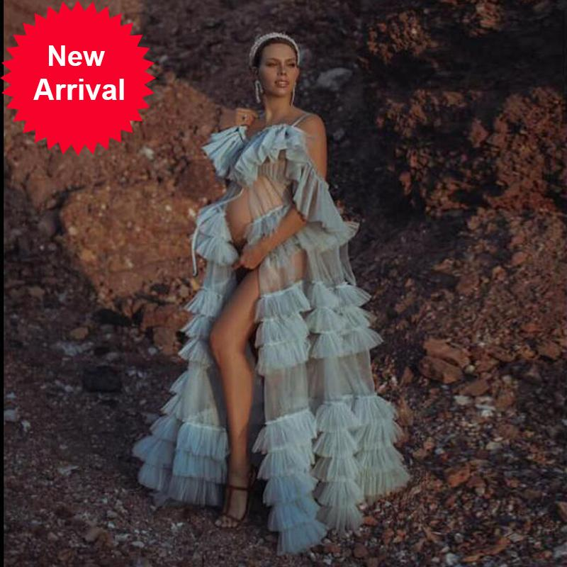 Fashion Sheer Ruffled Tulle Long Transparent Women Dress Robe Pregnant Shoot Photos See Through Prom Gown Custom Made