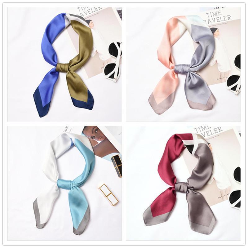 Nuevo 70x70cm mujeres multifunción poliéster seda bufanda patchwork impreso satén pequeñas envolturas cuadradas bufandas chal diademas cuello corbata