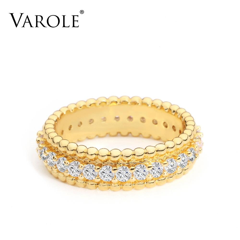 VAROLE Punk Beads Ring Cubic Zirconia Engagement Lady Finger Rings For Women Gold Color Minimalist Fashion Jewelry