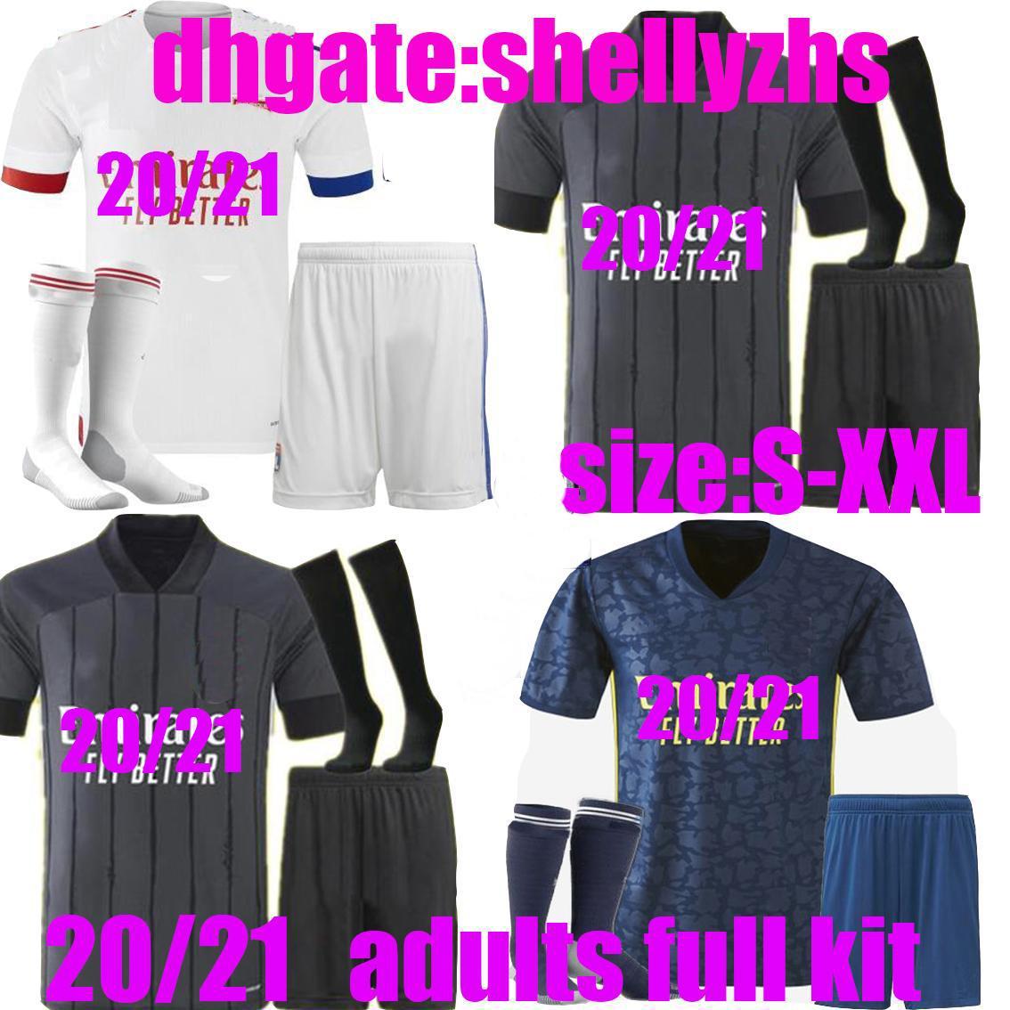 Взрослые Полный комплект 20 21 Maillot de oep Olympique Lyonnais Soccer Jersey 2020 2021 OL Lyon Mailoot De Foot Traore Memphis Футбольная рубашка