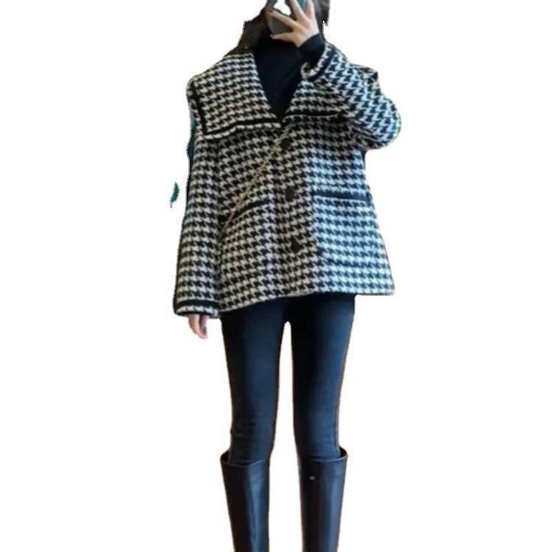 Autunno e inverno moda selvaggio grande risvolto dolce nuovo stile coreano sciolto allentato le donne corta Tide piccola giacca di fragranza donne