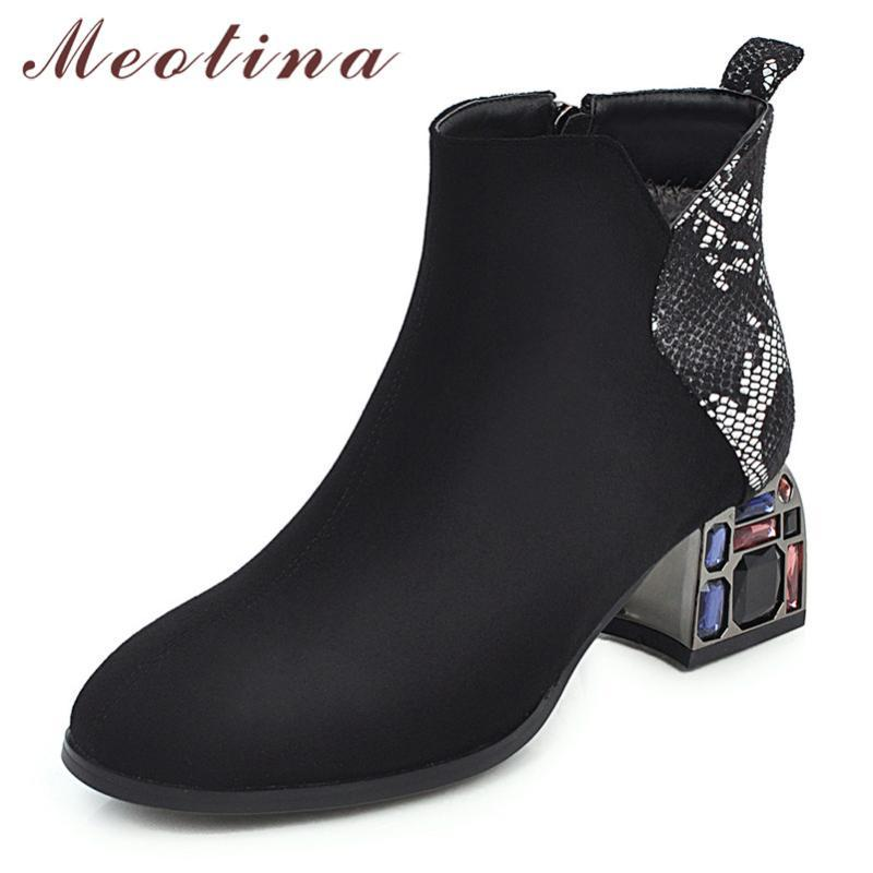 Meotina Winter Ankle Boots Women Rhinestone Square High Heel Short Boots Zipper Mixed Colors Round Toe Shoes Lady Large Size 46