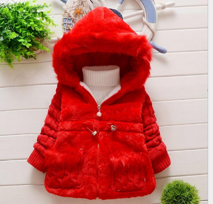Drop Shipping New Girls 'Comércio Exterior imitação espessado peles casaco de lã de lã meninas casaco com capuz
