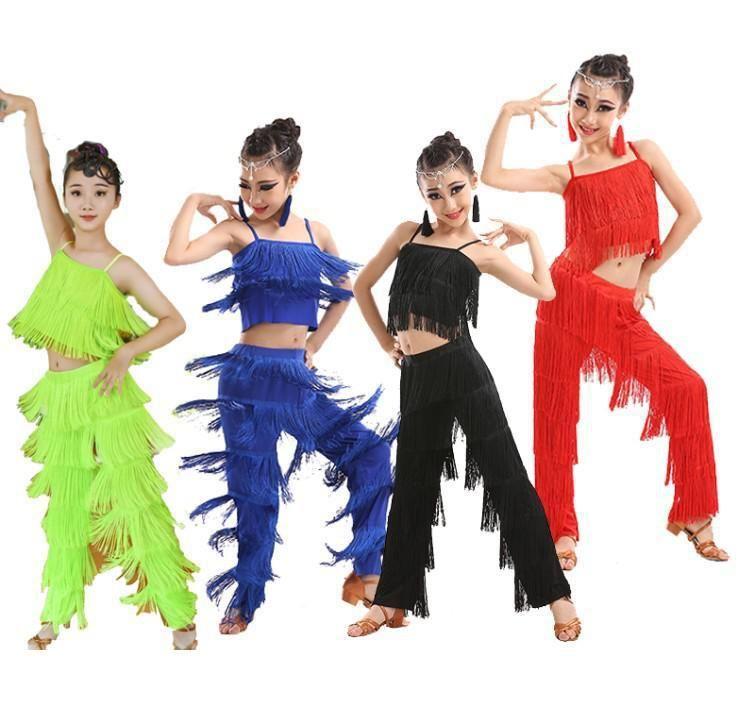 Kinder lateinische Tanzkostüme Ballsaal plus Größe Fransen Quaste Kleid Hosen Mädchen Pailletten Salsa Samba Kinder Bühne Outfits Kostüm