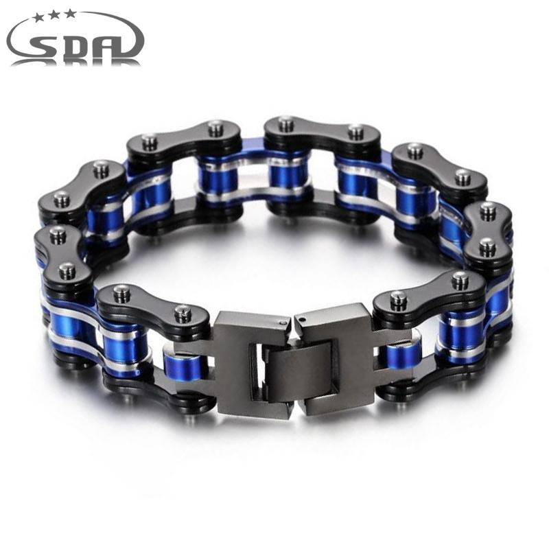 New Black & Blue Bracelet 316L Stainless Steel Jewelry Biker Wristband Punk Rock Motorcycle Link Chain Bracelets 16mm Wide YM167