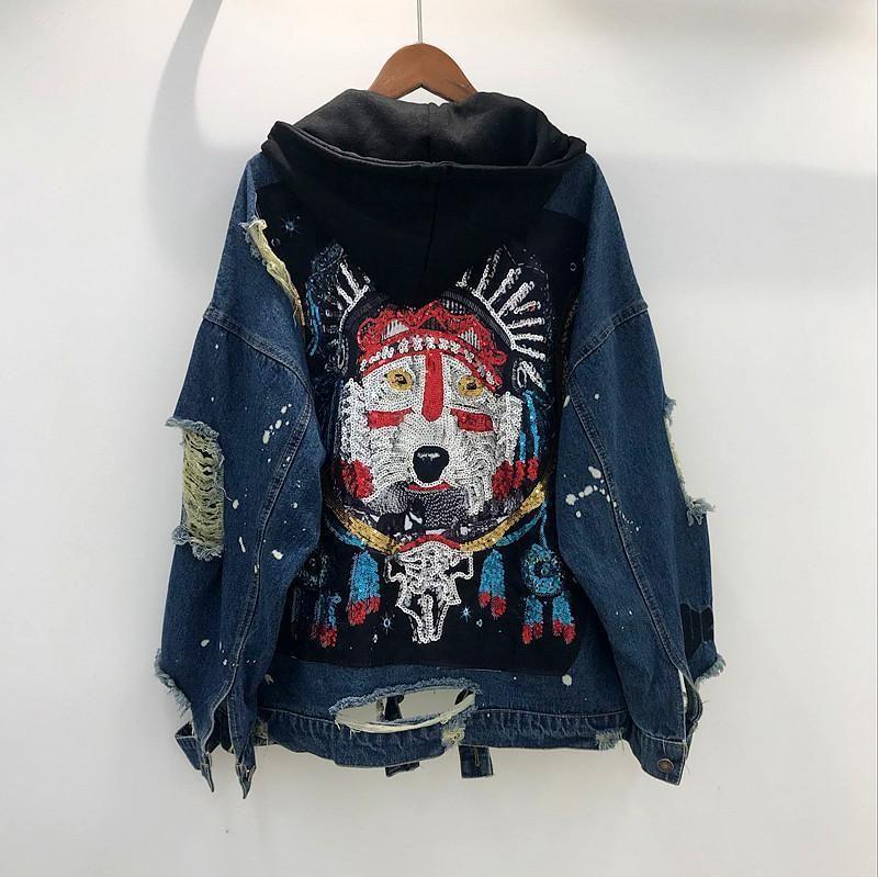 Новые женщин Куртки и пальто Блестки Жан джинсовой пальто куртки весна осень Изношенные 9CT0022