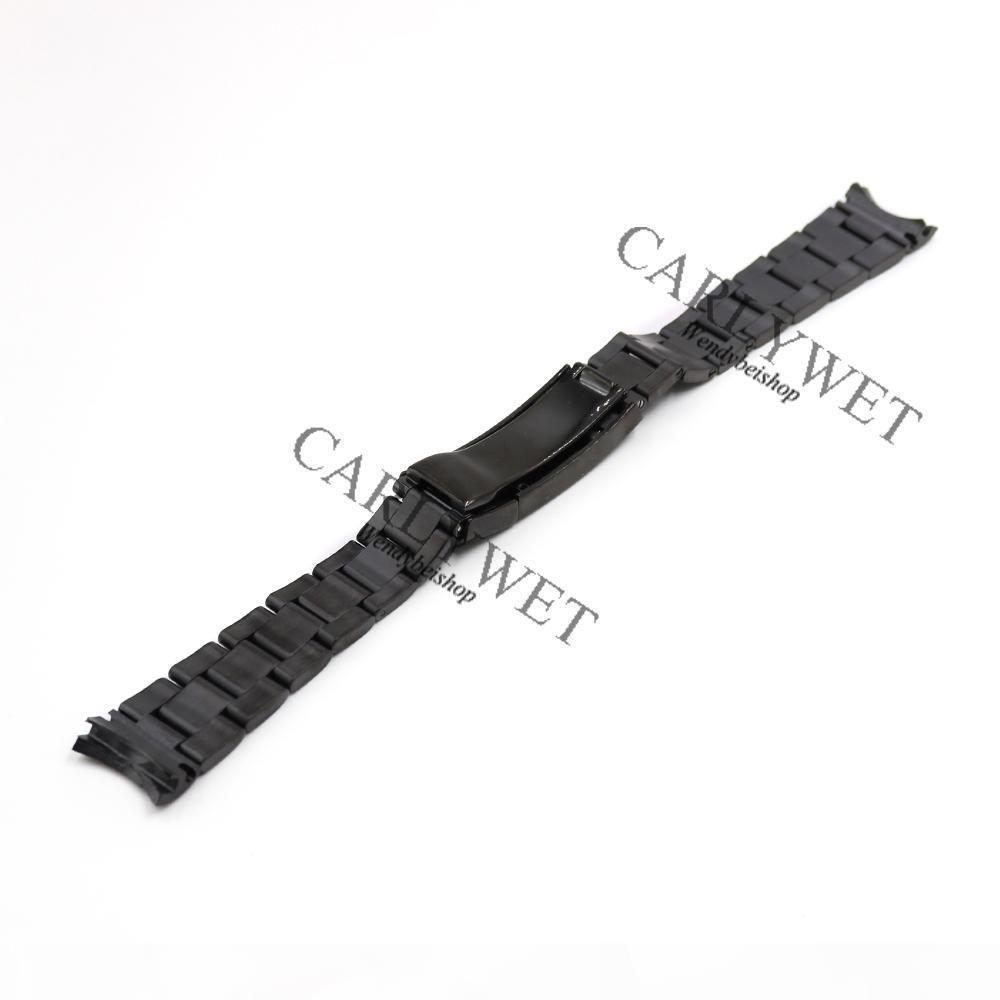 Carlywet 20mm Noir Solide Vis d'extrémité incurvée en acier inoxydable NOUVEAU Style Glide Lock fermoir En acier Bande Bracelet Bracelet