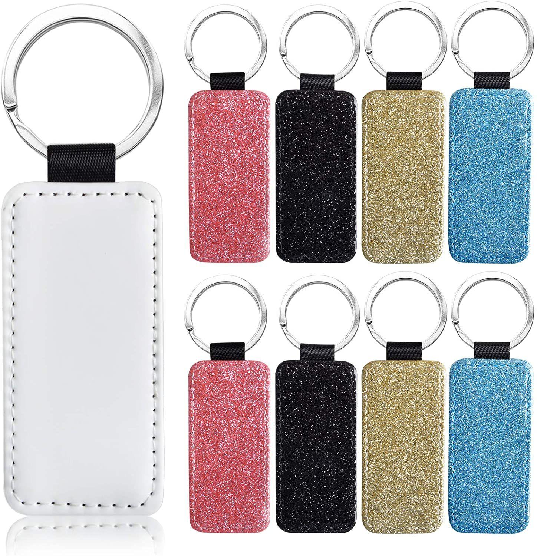 Sublimation Blanks Keychain Porte-clés Pu en cuir Pu en cuir Porte-clés Trial Trial Trial Coeur Rond coeur rectangle carré peut coutume