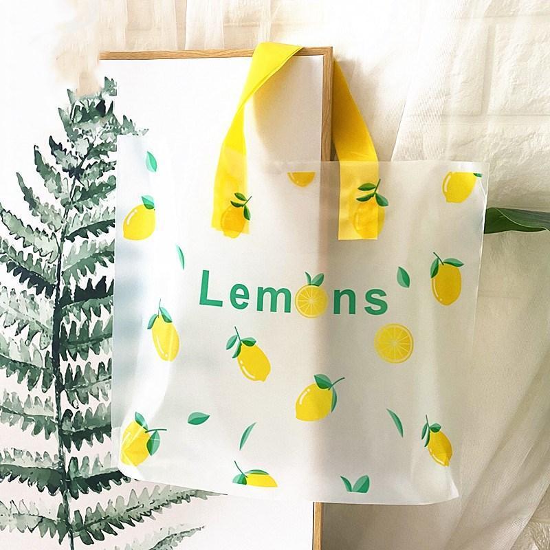 선물 포장 50pcs 두꺼운 큰 비닐 봉투 투명 젖빛 시리즈 쇼핑 쥬얼리 포장 가방 손잡이