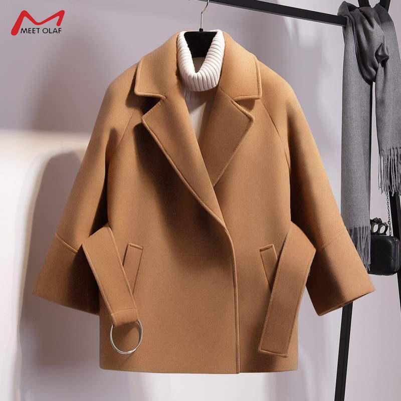 Женская шерстяная смесь 2021 осень зимние женщины короткие тонкие шерстяные пальто мода мыс женский ремень куртка черный хаки абрикос плюс размер CA3498