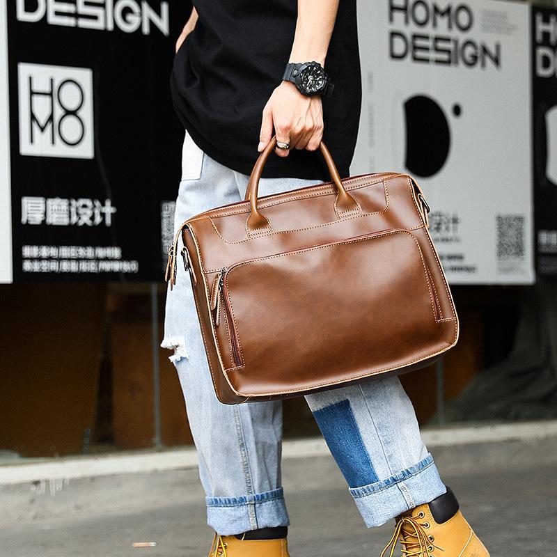 HBPWomen Men Shoulder Large Capacity 14 Inch Laptop Briefcase Bags for Documents Messenger Bag Vintage Leather Business Q0112