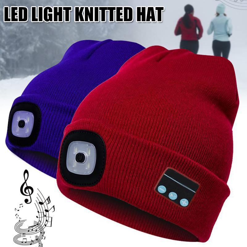Beanie / Kafatası Caps Bluetooth Bere Şapka ile LED Far Işıklı Kapaklı Şarj Edilebilir Kablosuz Kış Sıcak Knit LL @