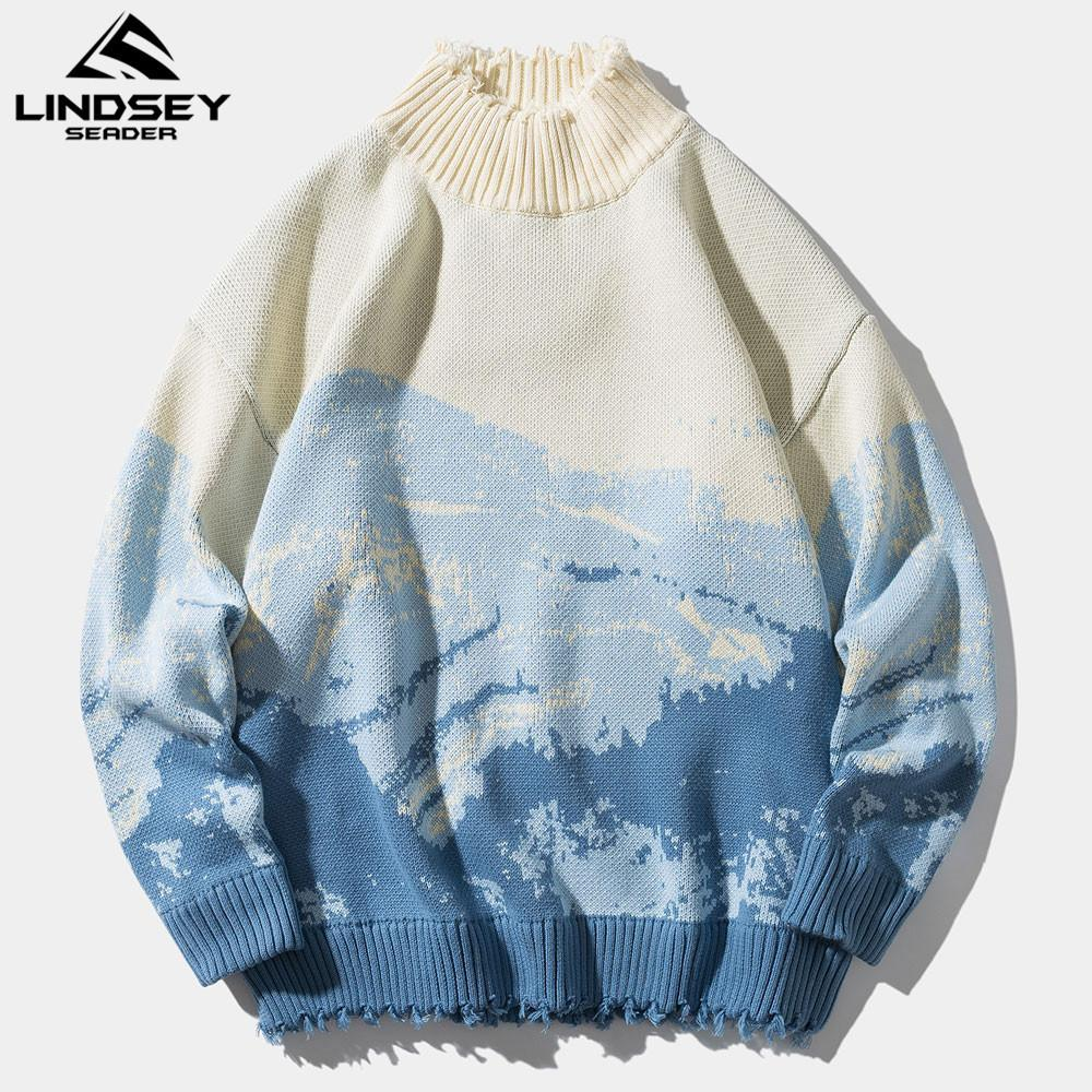 Lindsey Seader High Neck Mens Mountains Oversize Hip Hop Streetwear Harajuku Autunno Autunno Inverno Spesso Pullover Uomo Maglioni