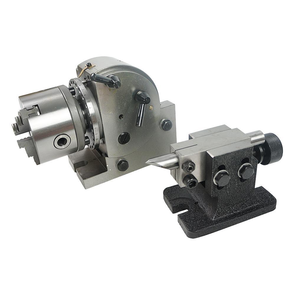CNC Döner Eksen Bölme Kafa BS-0 5 Inç 3 Çene Chuck ile 100mm 125mm Chuck ve Punta CNC Freze Makinesi Döner Masa Için