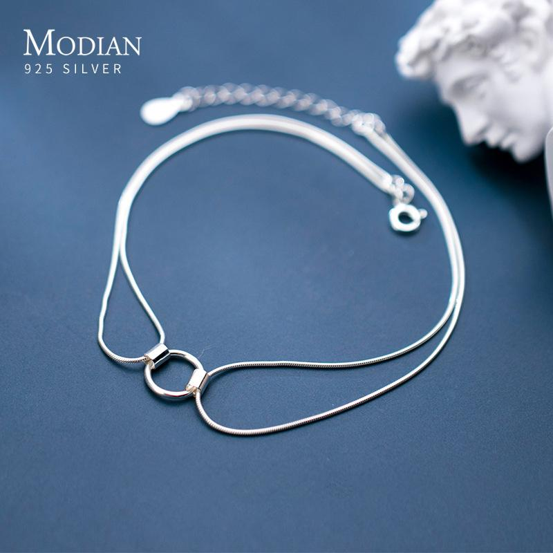 Modian Top Sale Brand Real 100% 925 Sterling Silver Geometric Round Snake Chain Anklet Link for Women Korea Style Fine Jewelry F1219