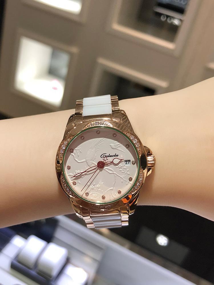 Caluola Автоматические механические часы для Женщин Часы Женские Часы 2020 Новые Водонепроницаемые Мода Керамические Алмазно-Встроенные Женщины