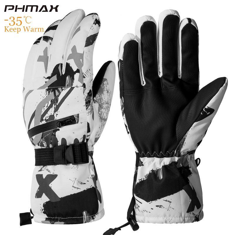 Ski Gloves PHMAX Winter Thermal Windproof Keep Warm Touch Screen Mens Women Waterproof Shockproof Skiing Skating