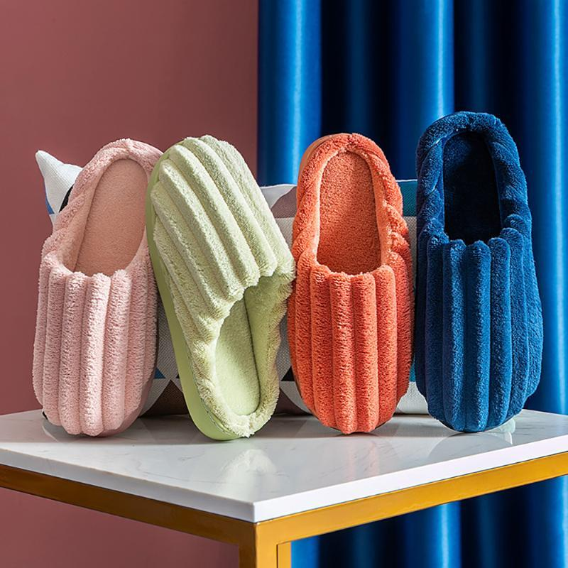 Hausschuhe RJN Schöne Wollschieber Stilvolle Mischfarbe Ohrdekoration Indoor Schuhe Frauen Für Winter Po809