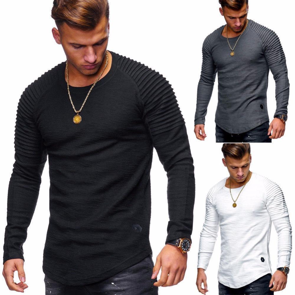 Hot 2020 Сплошной цвет плиссированный патч деталь с длинным рукавом футболка мужчины весенние повседневные пуловеры модные тонкие основные вершины