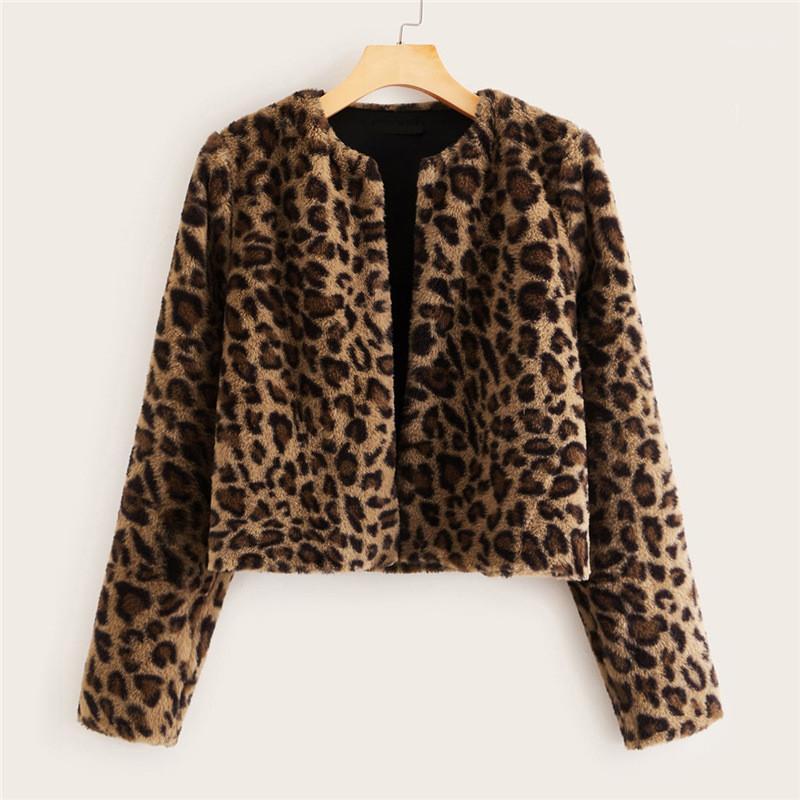 Fashion Street Style de manga larga de manga larga Cuello de mujer Abrigo de mujer Casual Leopardo Impreso para mujeres de piel de invierno Chaqueta de diseñador de cálido