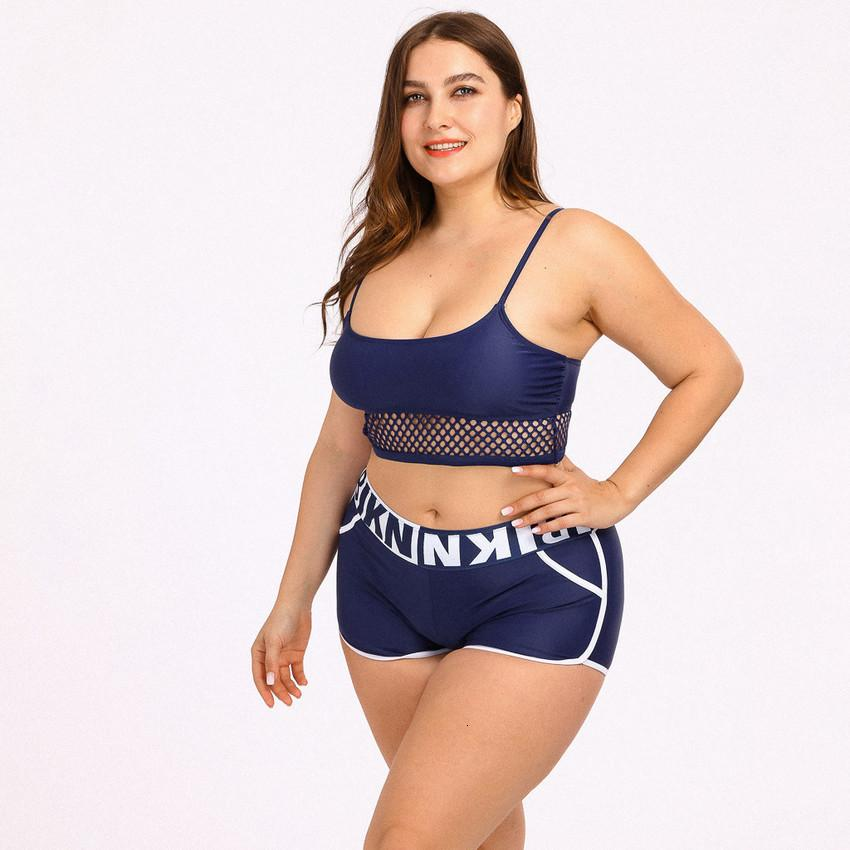 Plus Badeanzug Frauen Größe Hohe Taille Bikini Sets Sportart Badebekleidung Zwei Teile Badeanzüge Sexy Mesh Patchwork Solide Biquini 2020 2SZP
