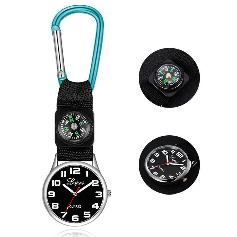 9 cor bolso relógio compass portátil carabiner enfermeira quartzo relógios multifuncionais ferramenta de sobrevivência ao ar livre