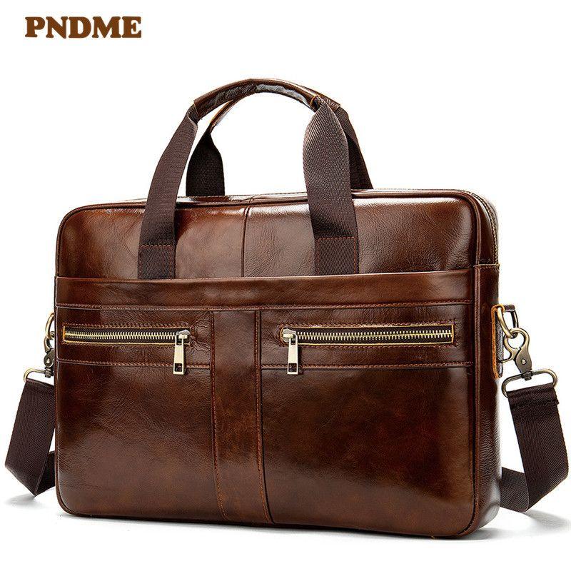 HBP PNDME retro simple genuine leather men's briefcase casual soft top layer cowhide business office messenger bags brown laptop bag Q0112