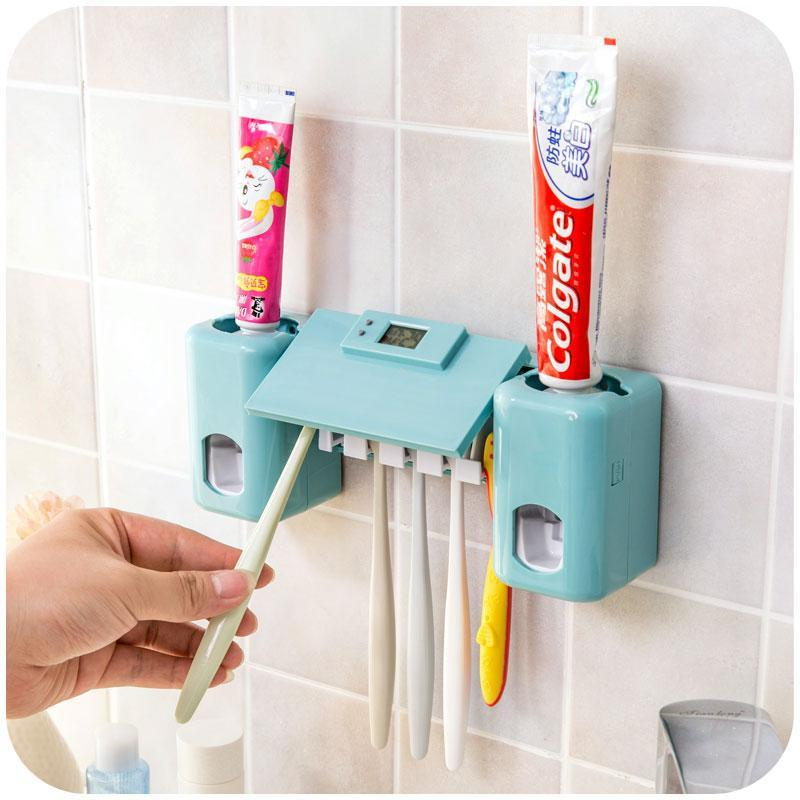 Bath Accessory Set 1 Automatic Toothpaste Dispenser Squeezer + 5 Hole Toothbrush Holder Wall Mounted Family Bathroom Accessories