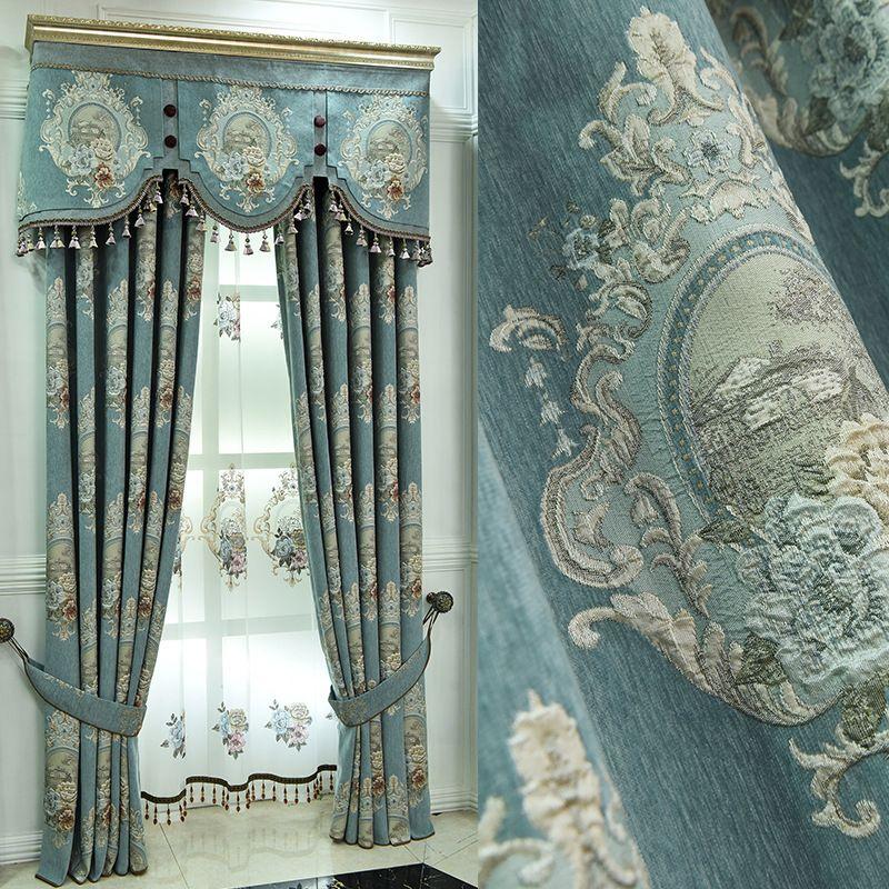 Роскошные оконные стили для гостиной Элегантные Drapes Европейская вышитая занавес LJ201224