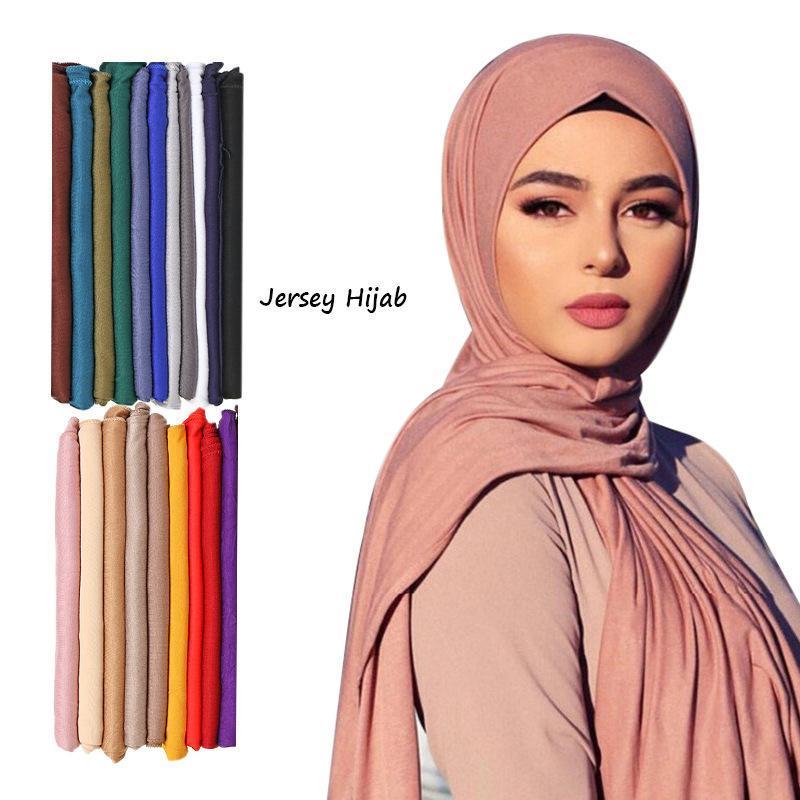 Простые цвета Длинные шал шал шарфы модальный джерси хиджаб мусульманский головной платок мягкий черный женский тюрбан галстук галстука головы голова легкий вес