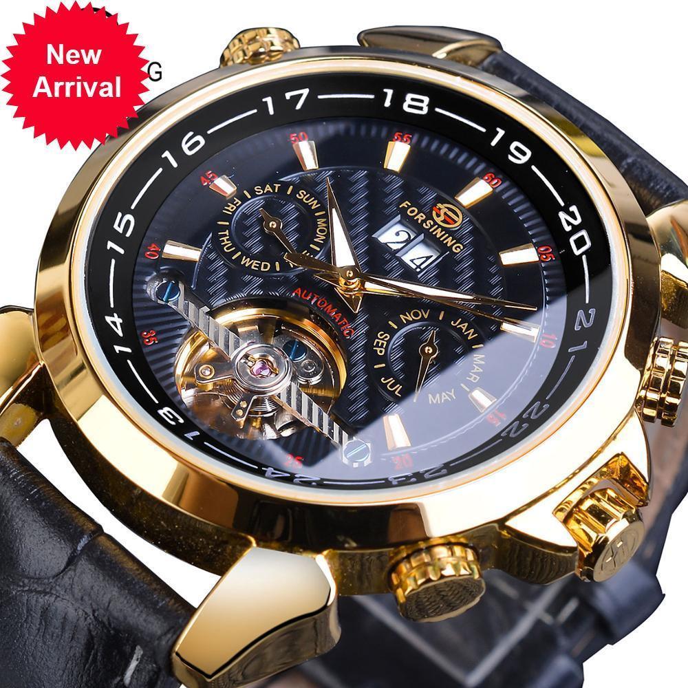 Aflammer Mens Mechanical Montre Automatique Toubillon Date Relogio Business Skeleton Véritable Montres Montres Horloge Masculino