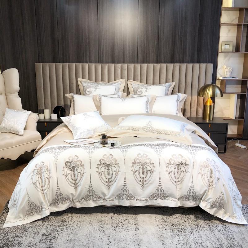 Lujo 4/7 unids 1200TC Conjunto de ropa de cama de algodón egipcio Chic Bordado Duvet Funda Queen King Edredón Cubierta Cubierta Cama Hoja de cama