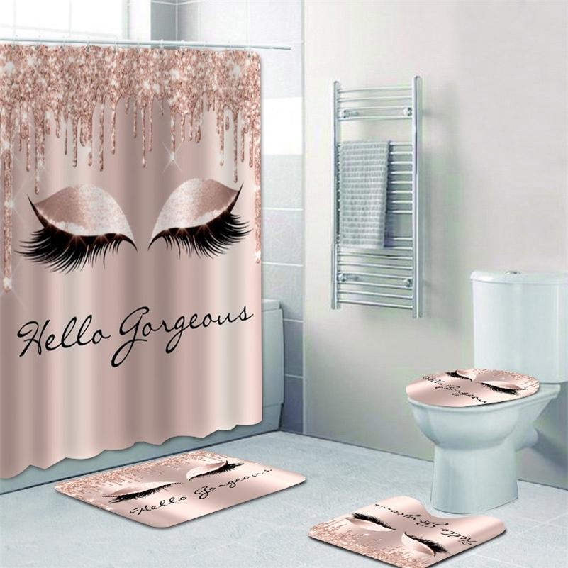 Girly Rose Gold Wimpern Make-up Duschvorhang Bad Vorhang Set SPARK ROSE DRIP BACE BATZBADE GABE EIGENE WÄHLEN SALON SALON Home Decor LJ201128