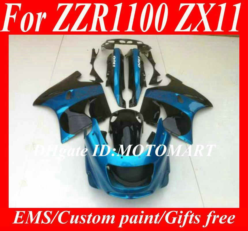 Verkleidungs-Kit für Kawasaki ZZR1100 93 94 95 96 97 98 99 00 01 ZX11 1993 2001 ZZR1100D Blue Fairing Set + 7Gesibs ZU31
