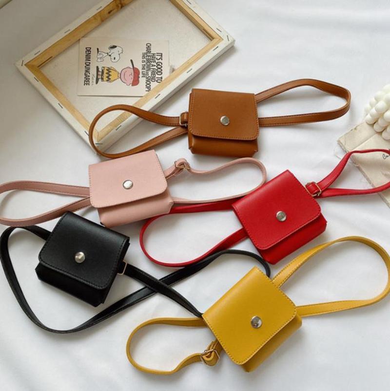 Mädchen Handtaschen PU-Leder Eine Umhängetaschen Feste Kinder Mädchen Kreuz Körpertasche Taille Geldbörse Mode Kinder Zubehör 5 Farben DW6182