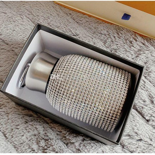 Fashionable diamond thermos water bottle stainless steel smart temperature display vacuum thermos mug gift for men and women dzj 520