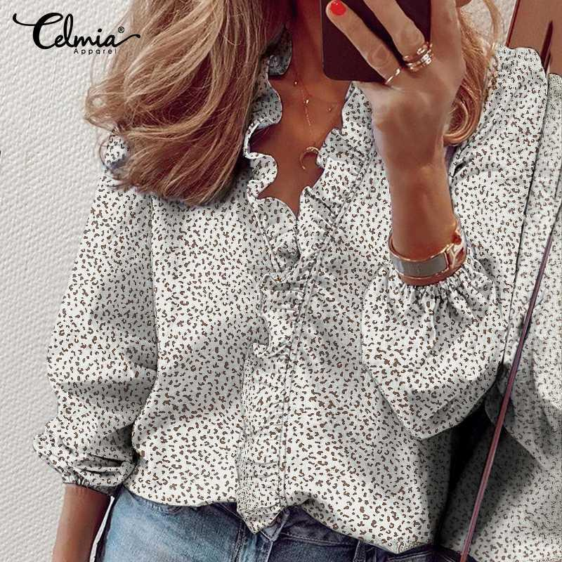 Celmia Women Ruffles Blouses Elegant Printed Lady Shirts 2020 Fashion Sexy V-neck Long Sleeve Party Tops Female Clothes 5XL
