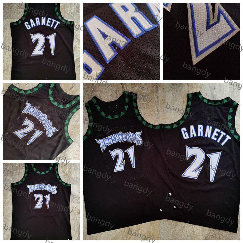 Mitchellness Basketbol Mens Vintage Kevin 21 Garnett Jersey 1997 Yoğun AU Kumaş Örgü Nakış Logolar Dikişli Stok Gömlek Siyah