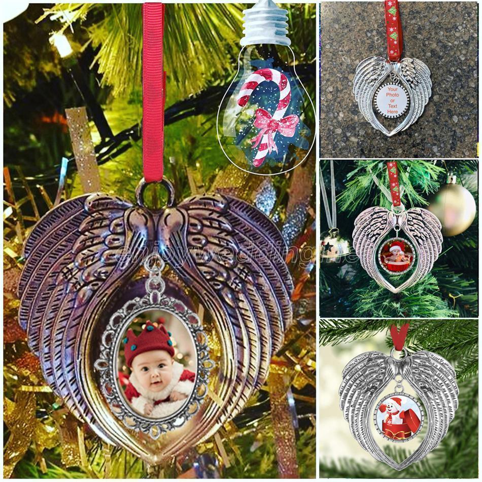 Sublimation Leerzeichen Weihnachten Ornament Dekorationen Angel Wings Shape Leere Fügen Sie Ihr eigenes Bild und Hintergrund hinzu Neue DHL-Schiff FY4437