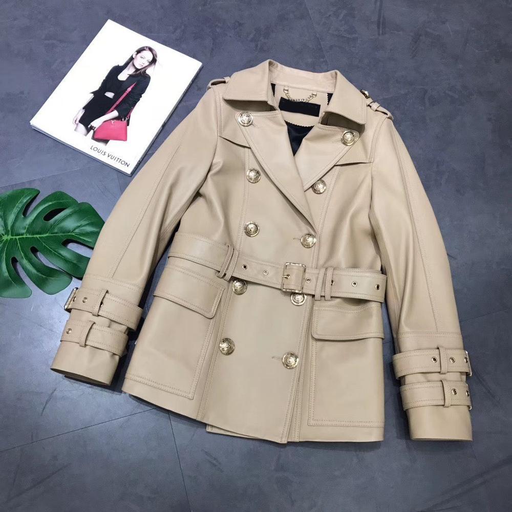 Maylofuer véritable femmes veste manteau de cuir mode vestes courtes pour des manches longues d'hiver de printemps avec ceinture à double boutonnage