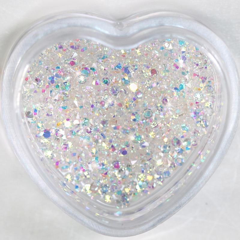 1440 adet Kristal AB Mini Nailrhinestone Kristal 3D Tırnak Rhinestone Dekorasyon DIY Çiviler Sanat Pixie Rhinestone Mikro Diamond H0085