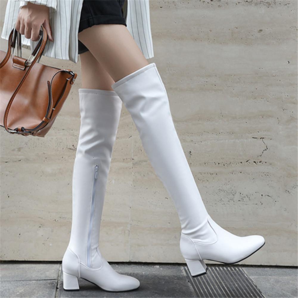 2019 الأزياء الركبة عالية النساء الشتاء رقاء كعب طويل مربع تو سحاب الخريف الإناث الأحذية أسود أبيض