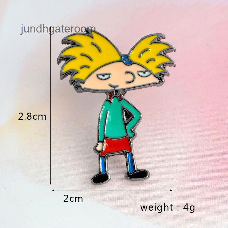 Broche Qihe Character Character Dos Desenhos Animados Brooches Pins Amarelo Cabelo Menino Enamel Pins Hard esmalte Pins Jacket Bag Jóias