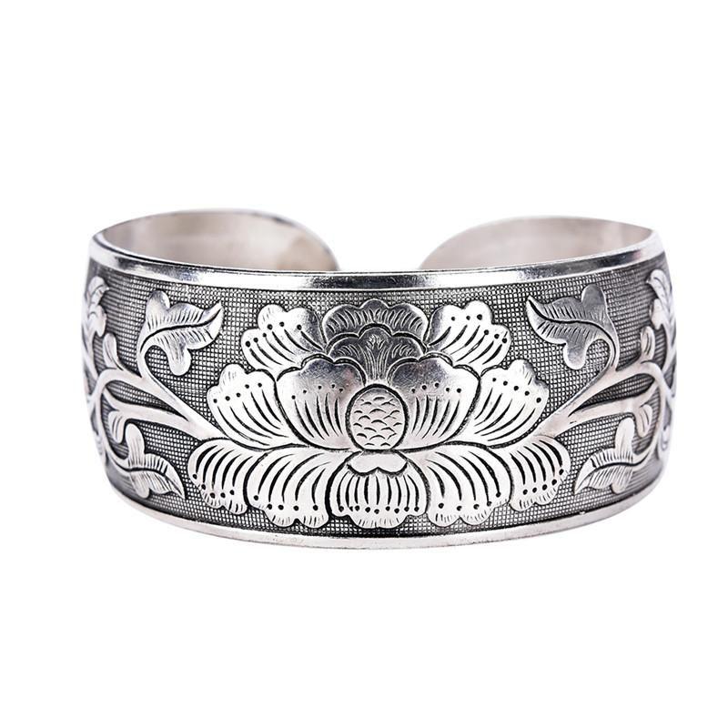 Bangle 2021 Tibetano Tibetano Bello Braccialetto della peonia Braccialetto del braccialetto della mano dei monili della mano dell'argento per le donne