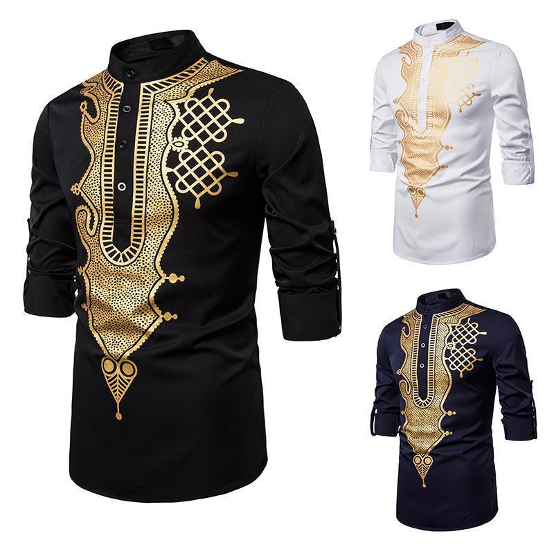 Black African Dashiki Camisa de Láminas Hombres Soporte Collar de manga larga Afrian Shirt Hombre Hip Hop Streetwear Casual Ropa